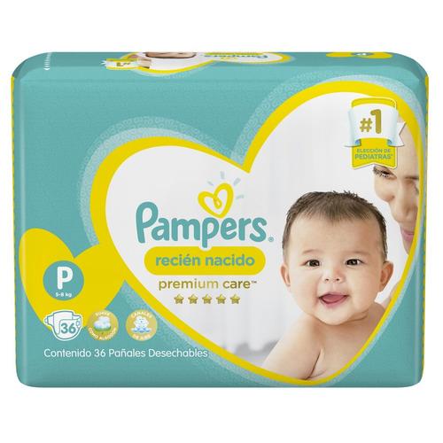 2 paquete pañales pampers premium care 72 unidades talla p