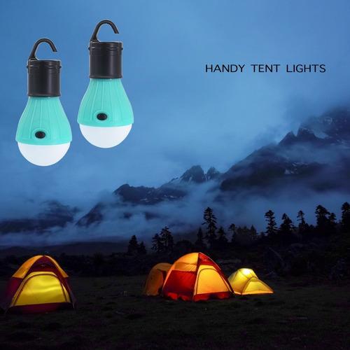 2 paquete portátil led linterna bombilla carpa de luz para q