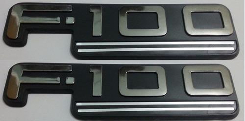 2 par dois emblemas f100 f-100 ford padrão original + brinde