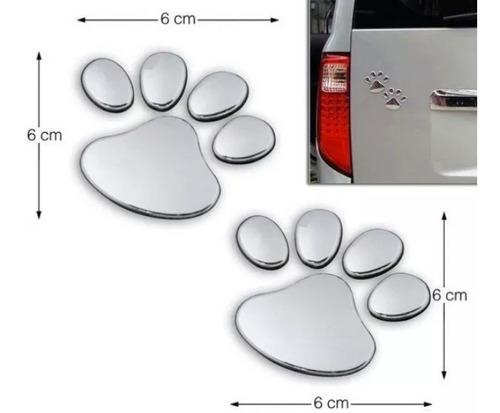 2 pares adesivo de patinhas 3d cromado patas cão dog gato