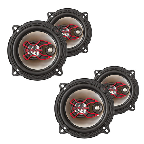 2 pares auto falantes bravox 5 polegadas triaxial b3x50x kit