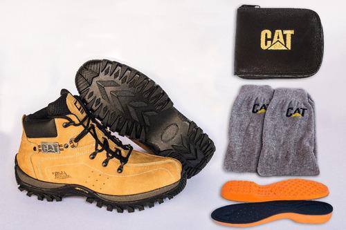 2 pares botinas cat+kit 2 meias+2 carteiras +palmilhas pu