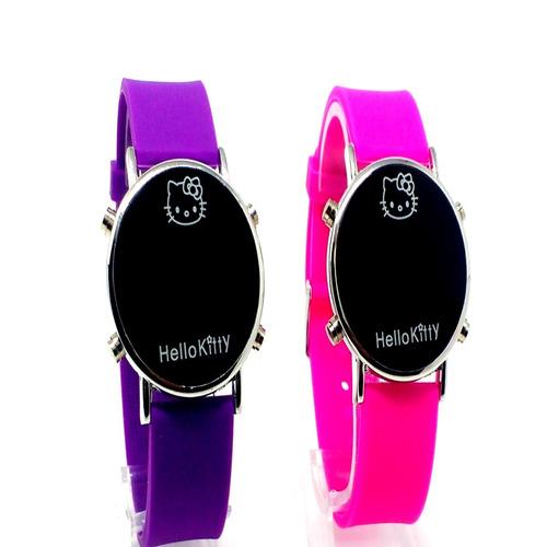 2 pares de relógio da hello kitty feminino escola promoção