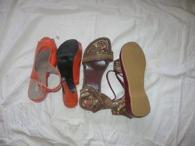 Pares De Sandalias Alto 2 Zapatos 37 Mujer Taco Cuero shQCtrxd