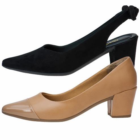 71a75a07ad 2 Pares Sapatos Femininos Scarpin Salto Grosso Conforto - R$ 94,99 ...