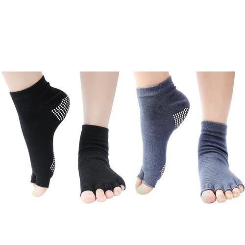 2 pares toeless la mitad de los calcetines del dedo del pie