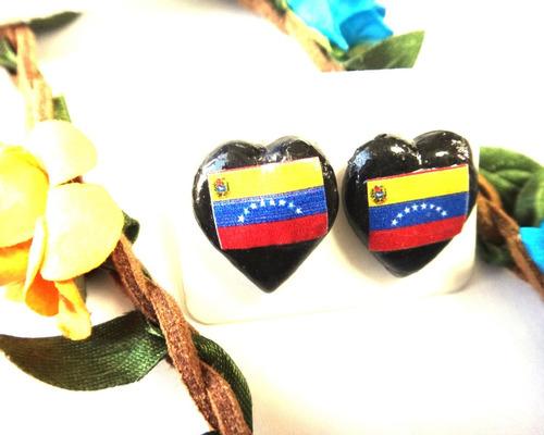 2 pares zarcillos bandera venezuela - corazón porcelanicrom