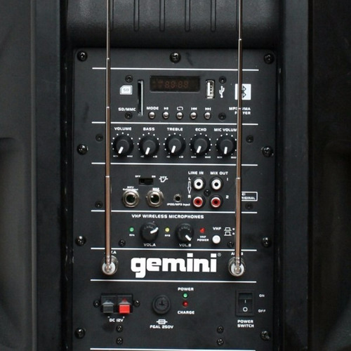 2 parlantes gemini es 12togo pedestales, microfonos inhal.