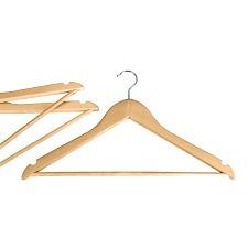 2 percha de madera para ropa perchas - material barnizado