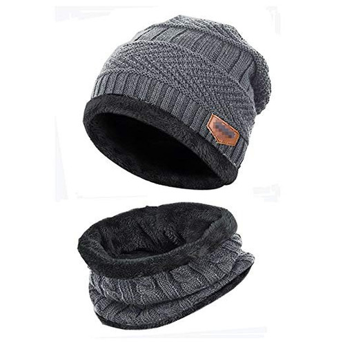 2-pieces mens beanie hat scarf set fleece lined winter warm