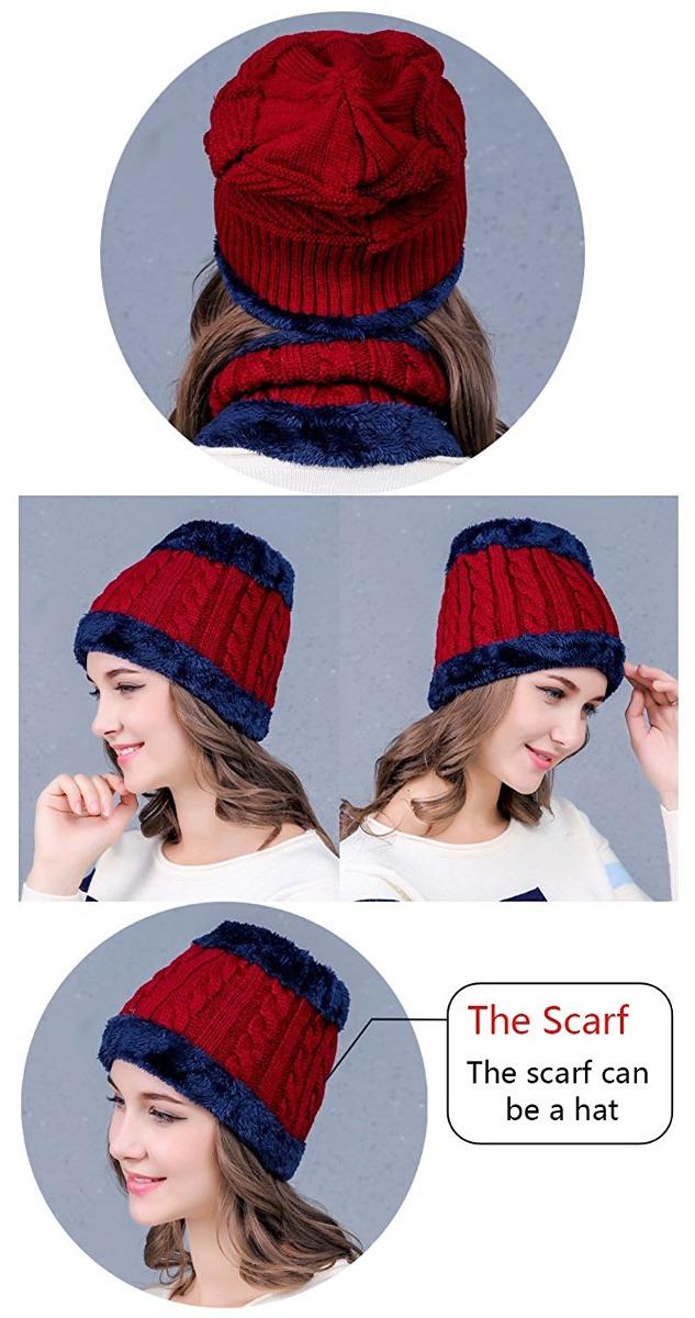 ... invierno gorro de lana y bufanda círculo con forro. Cargando zoom. 790b7642fd6