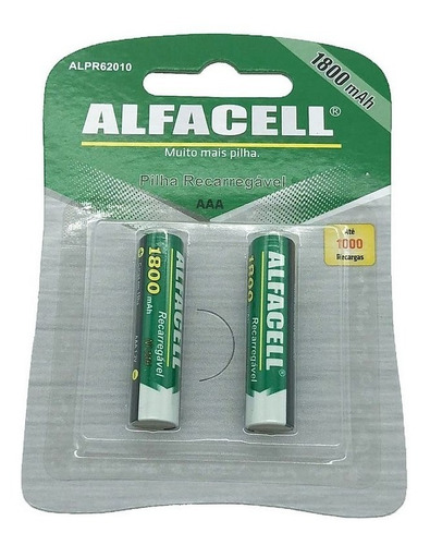 2 pilhas recarregável alfacell aaa (palito) 1800mah original