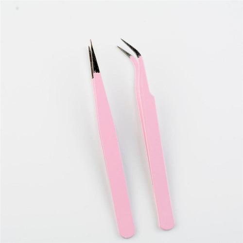 2 pinzas curva y recta color rosa especiales pestañas mink