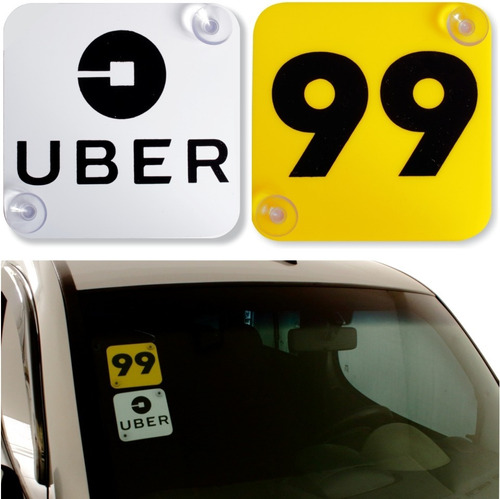 2 placas indicativas uber 99 motorista de aplicativos carro