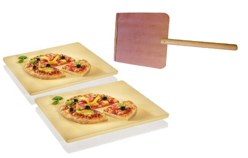 2 placas refractarias + pala pizzera bram metal piso piedra