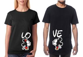 últimos diseños diversificados mitad de descuento cómo hacer pedidos 2 Playeras Amor Pareja Novios Mickey Personalizada Colores