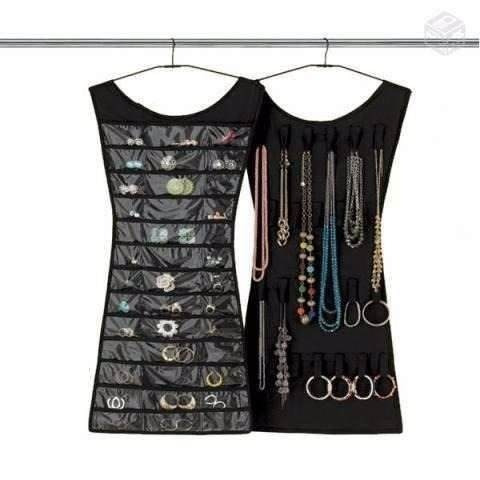 2 porta joias organizador de bijuterias vestido para cabide