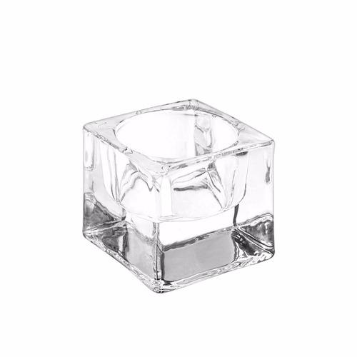 2 porta velas vidrio cuadrados pequeños inserto circular