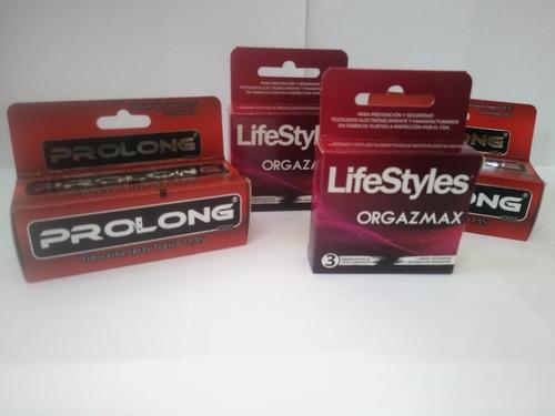 2 prolong spray + 2 lifestyles orgazmax 6un con envío gratis