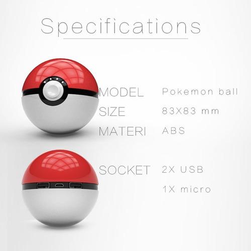 2 puertos usb cargador portatil pokemon pokebola 12000 mah