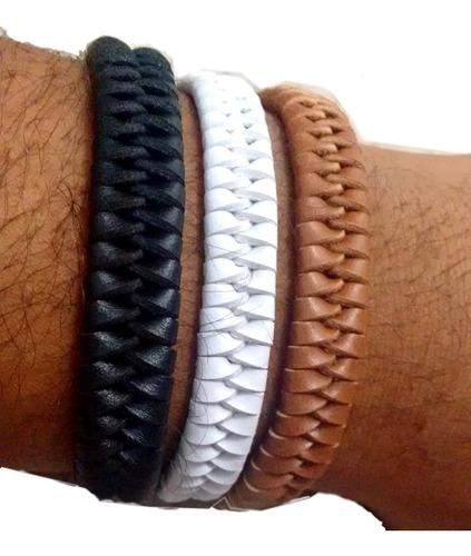 2 pulseiras bracelete masculina tribal couro ref: 365