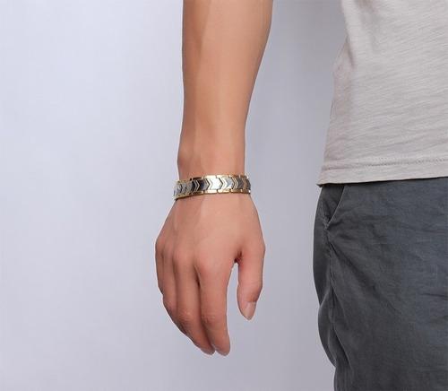 2 pulseiras magnética íon unissex energética bracelete aço