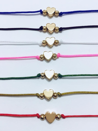 2 pulseras hilo rojo y colores corazón baño oro