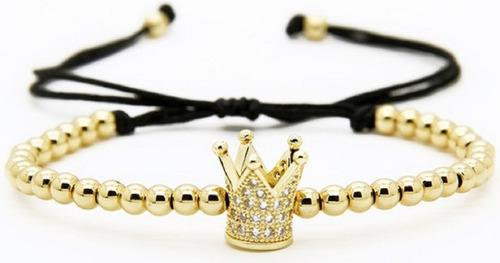 2 pulseras pareja rey y reina micropave zirconias chapa 18k