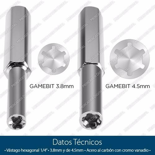 2 puntas gamebit 3.8 y 4.5 desarmador cartuchos nintendo nes