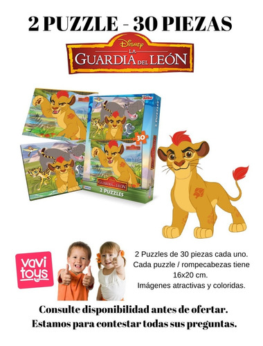 2 puzzle rompecabeza 30 piezas guardia del leon vavi toys