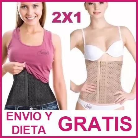 2 pzas + dieta gratis faja mujer cinturilla corte colombiana