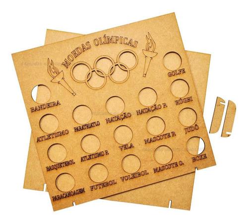 2 quadro coleção moedas olimpíadas 23,5x4x24,5 mdf madeira