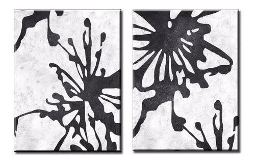 2 quadros abstratos pintura tela de 1 x 1,40 metro preto