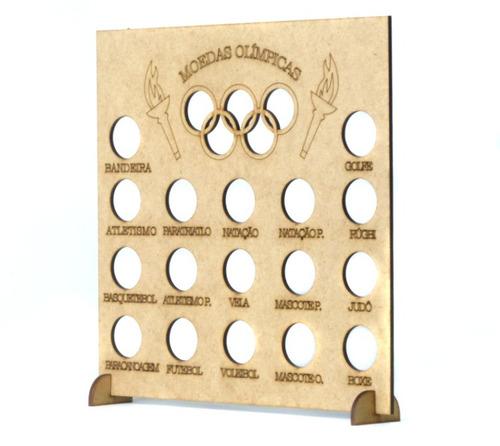 2 quadros coleção moedas olimpíadas - 23,5x4x24,5 - mdf cru