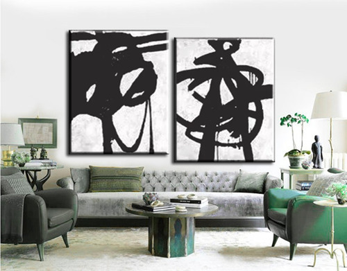 2 quadros pintura tela abstrato branco preto