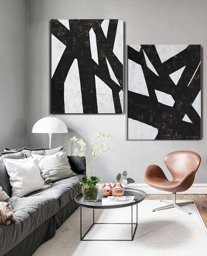 2 quadros pintura tela abstrato preto e branco