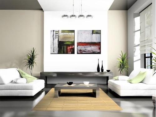 2 quadros pintura tela abstrato vermelho verde cinza