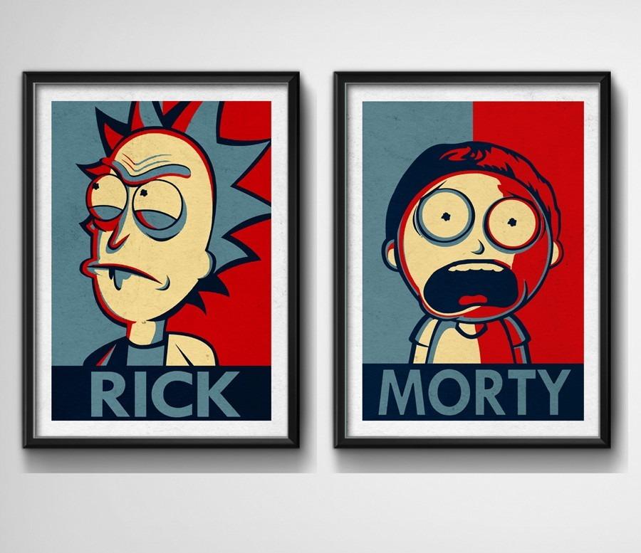 2 Quadros Rick Morty Pop Art Desenho Tv Sala Moldura Vidro R