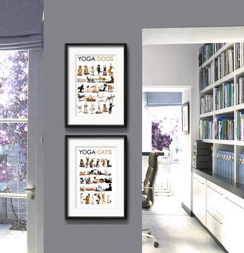 2 quadros yoga dogs cats cachorro gato zen pet shop loja
