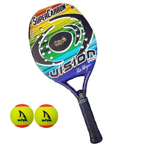 2 raquetes beach tennis vision super carbon pro 2018 + bolas