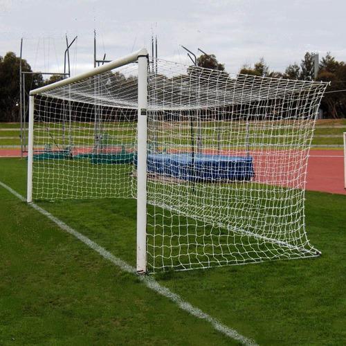2 redes arco futbol profesional 7,5x2,5.m cajon cuerda 2,3mm