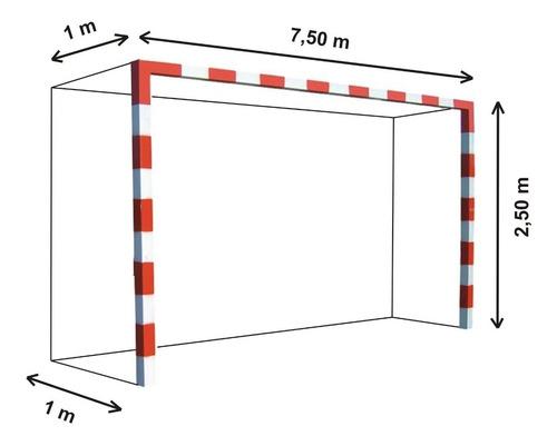 2 redes arco futbol profesional 7,5x2,5.m cajon cuerda 2,8mm - resiste agua y sol - hay stock