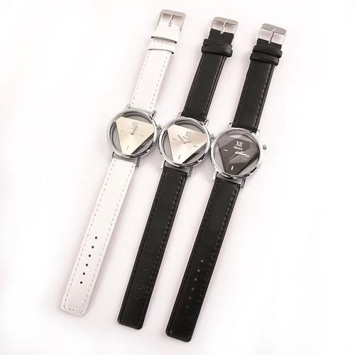 2 relógio do casal masculino e feminino mostrador triângulo