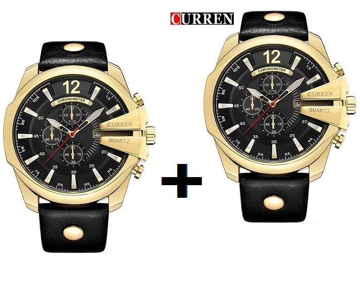 6ed410c1a88 2 Relógios Combo Curren Masculino Dourado Preto Importado - R  259 ...