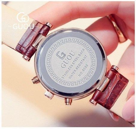 2 relógios feminino guou multifunções ( 1 marrom + 1 preto )
