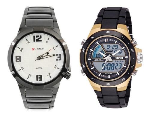 2 relógios masculino 1 skmei  + 1 curren originais com nf