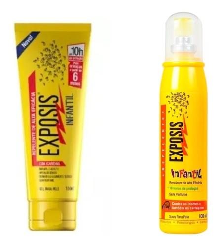 2 repelentes exposis infantil (spray e gel) 100 ml