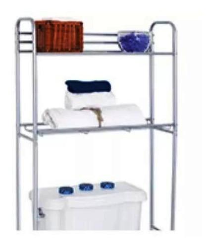 2 repisas baño inoxidable color cromo / plata