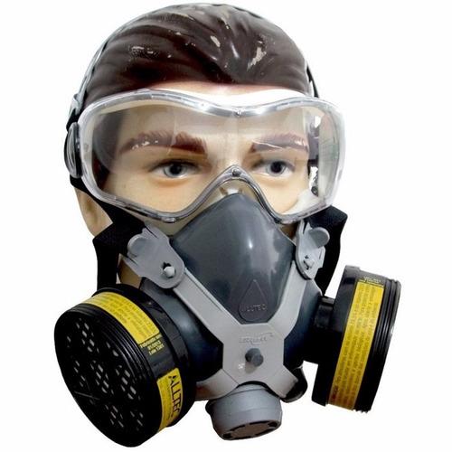2 respirador mascaras facial com 4 filtros gases + 2 óculos
