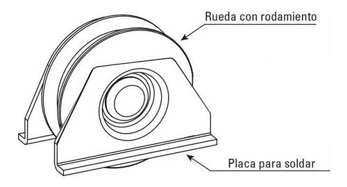 2 ruedas acero porton corredizo v 70 mm c/ soporte h tuyu